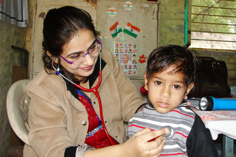 Health check by a doctor before immunisation